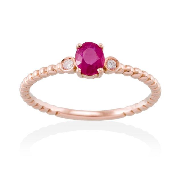 anillo trio rubi